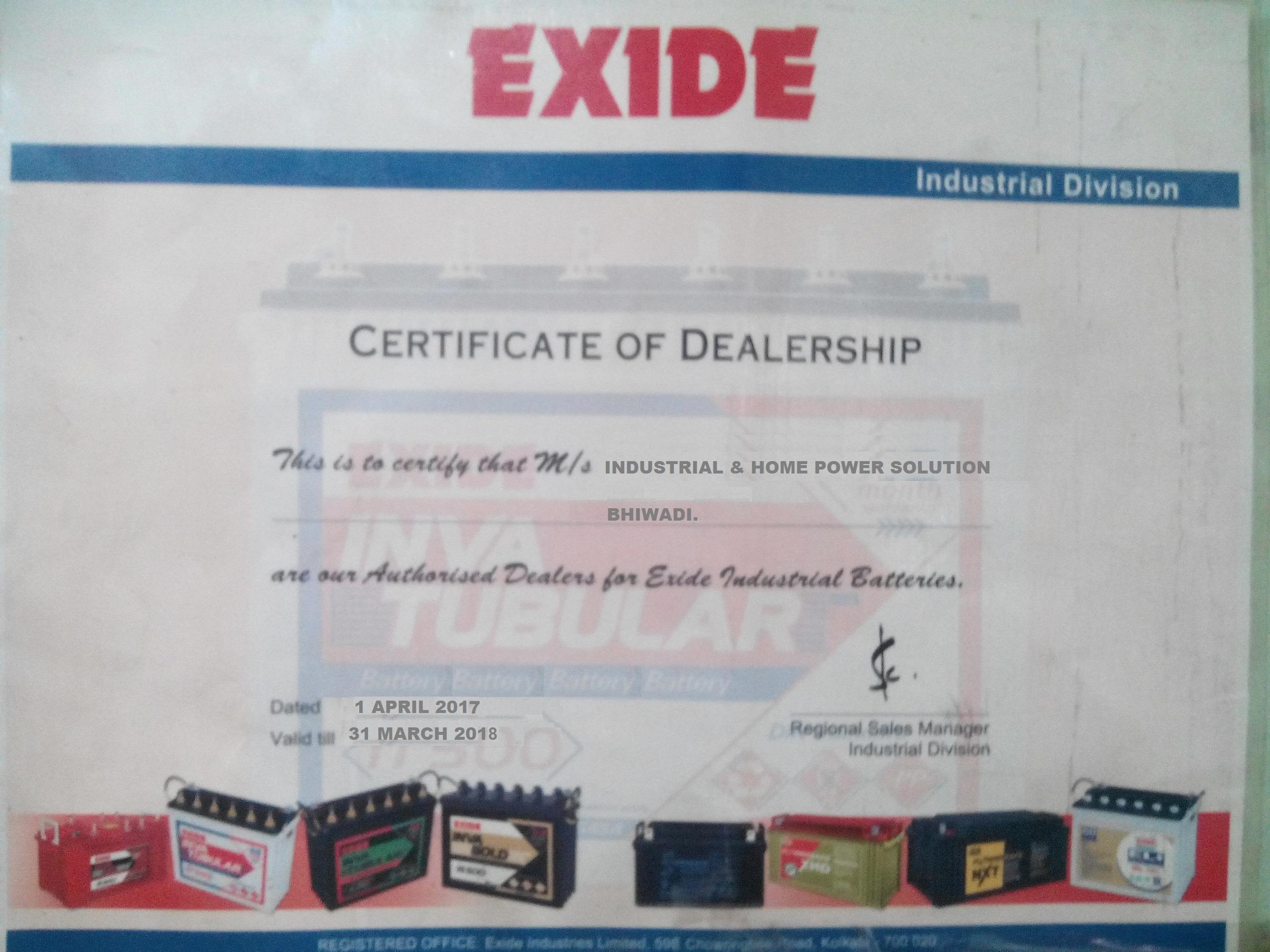 IHPS IND Exide Certificate