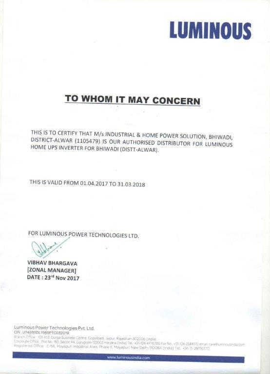 Luminous DIST Certificate